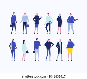 Office workers - flat design style set of isolated characters on white background. People in smart clothes with bags and gadgets, standing in different poses, talking