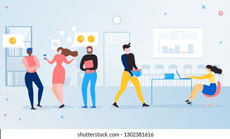 Office Workers Informal Communications Flat Vector Concept. Business Colleagues, Company Employee Talking in Office During Break Illustration. Shirking of Work, Lazy Workers, Chatters at Workplace