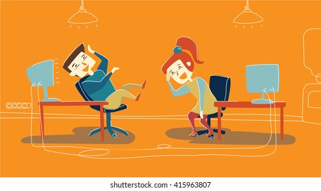 Office workers are joking. Office cute laughed characters. Funny joke that stops work process. Office friendly and cute  atmosphere. April's fool day.
