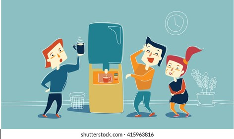 Office workers are joking. Office cute laughed characters. Funny joke that stops work process. Friendly office. Office workers laughing and drinking coffee.