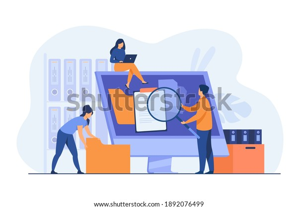 Office workers organizing data storage and file archive on server or computer. PC users searching documents on database. Vector illustration for information technology, source concept