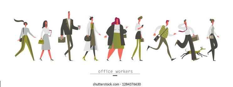 Office workers Pedestrians man and woman, a set of walking people of different ages Urban lifestyle Vector illustration