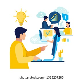 Office workers are sitting at the desk, looking into the computer.  Analytics of company information, studying.  Flat style illustration for social networking, messages, mobile web graphics. Vector