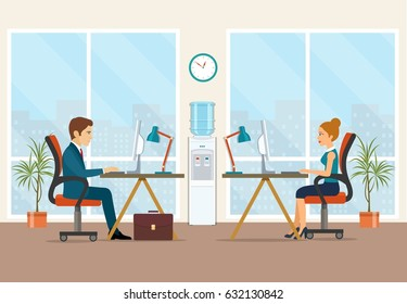 Office workers sitting at the table. Office workplace with table, bookcase, window. Flat vector illustration.