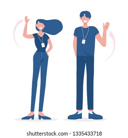 Office workers smiling and waving. Simple and flat figures vector illustration. EPS10