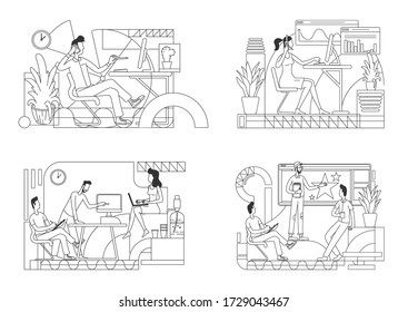 Office workers thin line vector illustrations set. Salesperson in headset, busy employee outline characters on white background. Corporate presentation, meeting simple style drawing collection