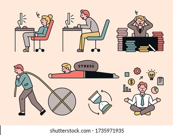 Office workers who are stressed by excessive work. flat design style minimal vector illustration.
