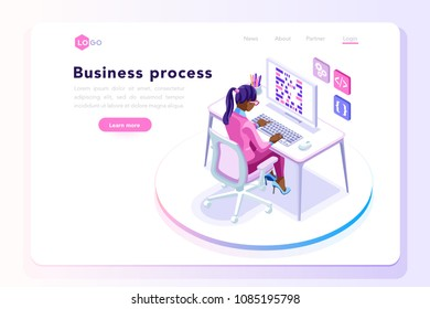 Office workplace, achieve concept. Office page also for tablet display. Can use for web banner, infographics, hero images. Flat isometric people, vector illustration isolated on generic background.