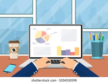 Office workplace. Business man working with laptop. Vector illustration in flat style