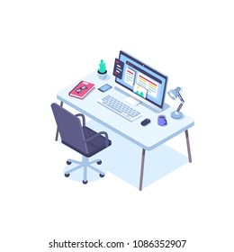 Office workplace concept. Flat isometric vector illustration isolated on white background.