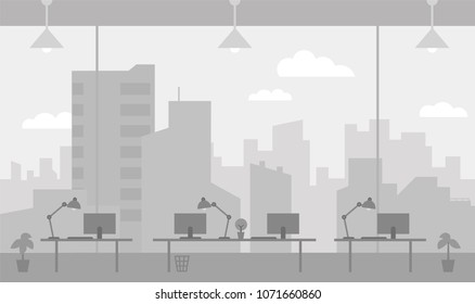 Office workplace gray color background room large window with splendid view skyscrapers city. Flat color vector illustration