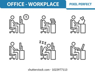 Office & Workplace Icons. Professional, pixel perfect icons optimized for both large and small resolutions. EPS 8 format. 3x size for preview.