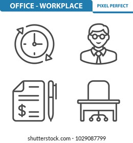 Office - Workplace Icons. Professional, pixel perfect icons optimized for both large and small resolutions. EPS 8 format. 5x size for preview.
