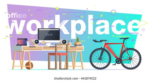 Office workplace illustration. Flat design banners for education, training courses, e-learning, distance training.  Abstract & Geometric style. Business concept. Marketing & management