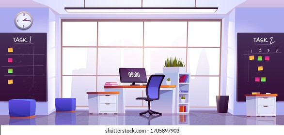 Office workplace interior with computer table, pc monitor, shelves, task boards front of wide floor-to-ceiling window with cityview. Working place for businessman, analyst, Cartoon vector illustration