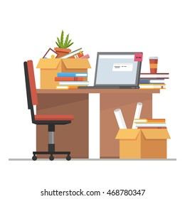 Office workplace interior design with desk and laptop. Business objects, elements. Flat concept illustration.