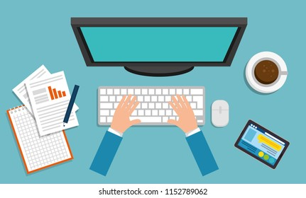 office workplace scene with desktop computer