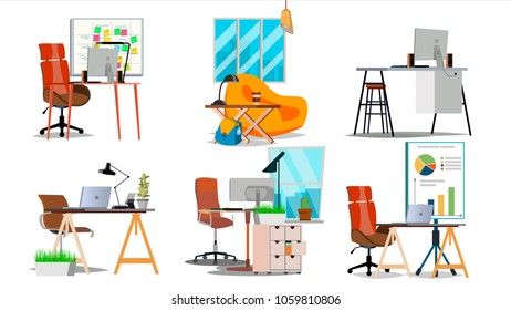 Office Workplace Set Vector. Interior Of The Office Room, Creative Developer Studio. PC, Computer, Laptop, Table, Chair. Interior. Furniture Workplace For Programmer, Designer, Salesman. Isolated Fla