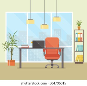 office workplace with table, bookcase, window. Design for web site, banner, brochure for business. Vector flat illustration