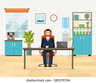 Office workplace with table, bookcase, window, cooler water and coffee machine. Business man or a clerk working at her office desk. Flat vector illustration.