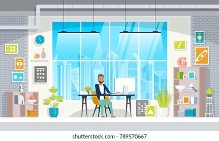 Office workplace with table, bookcase, window. Business man or a clerk working at office desk. Flat vector illustration.