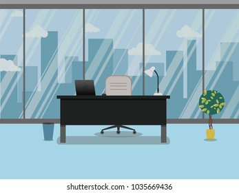 Office workplace with table, window and flower; vector flat illustration in blue color