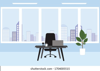Office workplace with table, window, flower  and city background. Vector image.