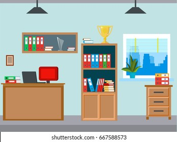Office workplace vector illustration background