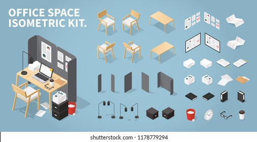 Office workplace vector isometric concept illustration. Work table composition plus collection of objects: table, chair, laptop, trash bin, lamp. glasses, folder, boxes, board, pile of papers, clocks.