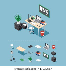 Office workplace vector isometric concept illustration. Work table composition plus collection of isometric objects: table, chair, books, laptop, trash bin, lamp. glasses, folder, boxes, board, papers
