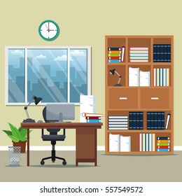 office workspace bookshelf armchair lamp books potted plant window city silhouette
