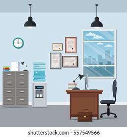 office workspace chair desk cabinet water dispenser certificate lamp window city silhouette