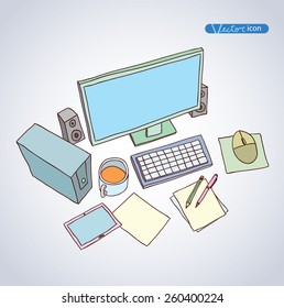 Office Workspace,  hand drawn vector illustration.