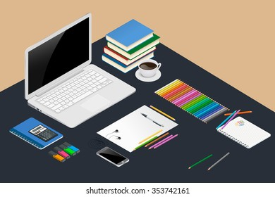 Office workspace with open laptop (notebook), books, spiral notepad, line of colored pencils, smartphone and calculator.  Set of flat design concept. Vector isometric illustration.