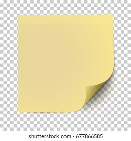 Office yellow paper sticker with shadow and curled corner isolated on a transparent background. Template vector post note.