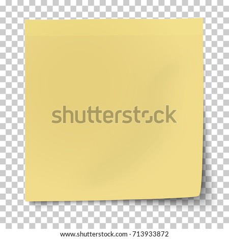 Office Yellow Paper Sticky Note Bent Stock Vector (Royalty Free ...