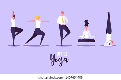 Office yoga illustration. Business people doing yoga in office on background. Concept of meditation, concentration and yoga. Modern vector illustration.