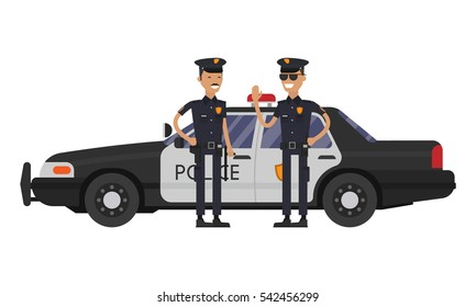 Officer characters with police car vehicle. Police officers in uniform