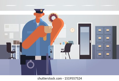 officer with donuts and coffee policeman in uniform having lunch security authority justice law service concept modern police department interior flat full length horizontal