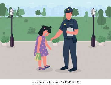 Officer Helping child, flat color vector illustration. Little girl lost her parents while playing. Police officers helping small kid. 2D cartoon characters with green city park in background