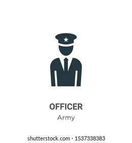 Officer vector icon on white background. Flat vector officer icon symbol sign from modern army collection for mobile concept and web apps design.