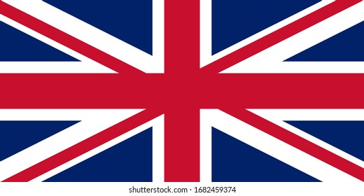 Official British flag of the United Kingdom. Union Jack. Proportions: 2: 1. RGB colors. Blue: 1, 33, 105. Red: 20, 16, 46. White: 255, 255, 255. Flat icon. Texture map. Vector illustration