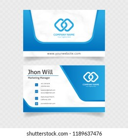 official business card template design in blue colors with minimalist concept vector eps10
