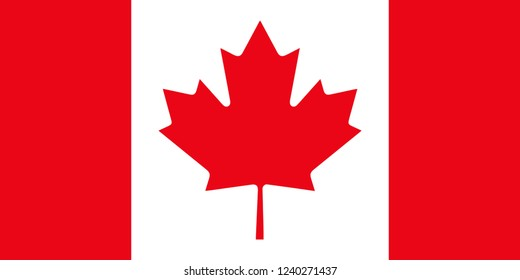 Official Canada vector flag with accurate proportions and colors. Canada flag, official colors and proportion correctly. National Canada flag. Vector illustration. EPS10.