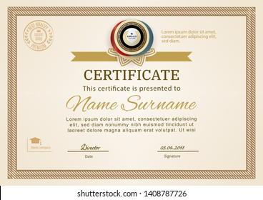 Official certificate with beige simple border. Business beige modern design. Gold emblem.