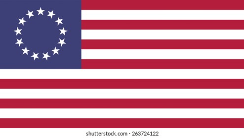 Official CMYK swaches n' official aspect ratio. Illustration of an American Betsy Ross flag.