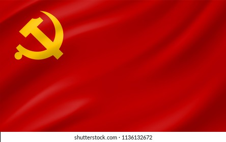 The official flag of the Chinese Communist Party of China with hammer and sickle sign.