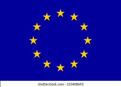 The official flag of the European Union in both sze and color.