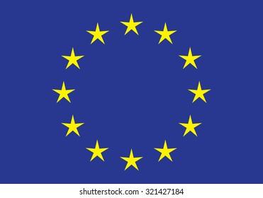 Official flag of European Union (EU), vector illustration
