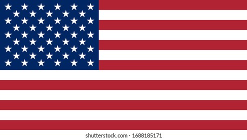 Official flag of USA. US flag with correct proportions and colors. Flat icon. Texture map. Vector illustration